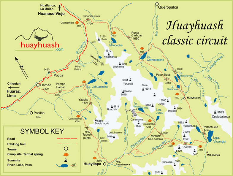 Map of the Classic Huayhuash circuit