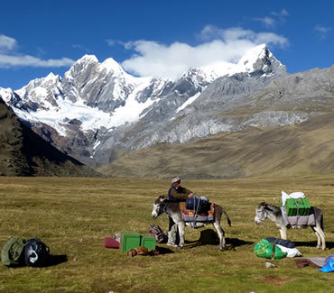 Mitucocha camp in the Cordillera Huayhuash