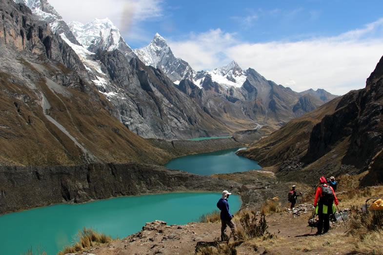 Walking up to Siula pass, after to visit the three lakes in the Cordillera Huayhuash trekking circuit